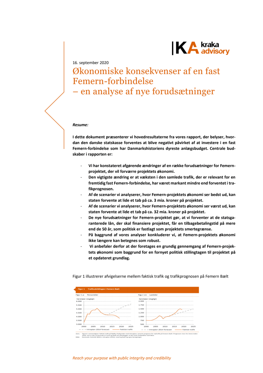 Sammenfatning – analyse af økonomiske konsekvenser af en fast Femern-forbindelse