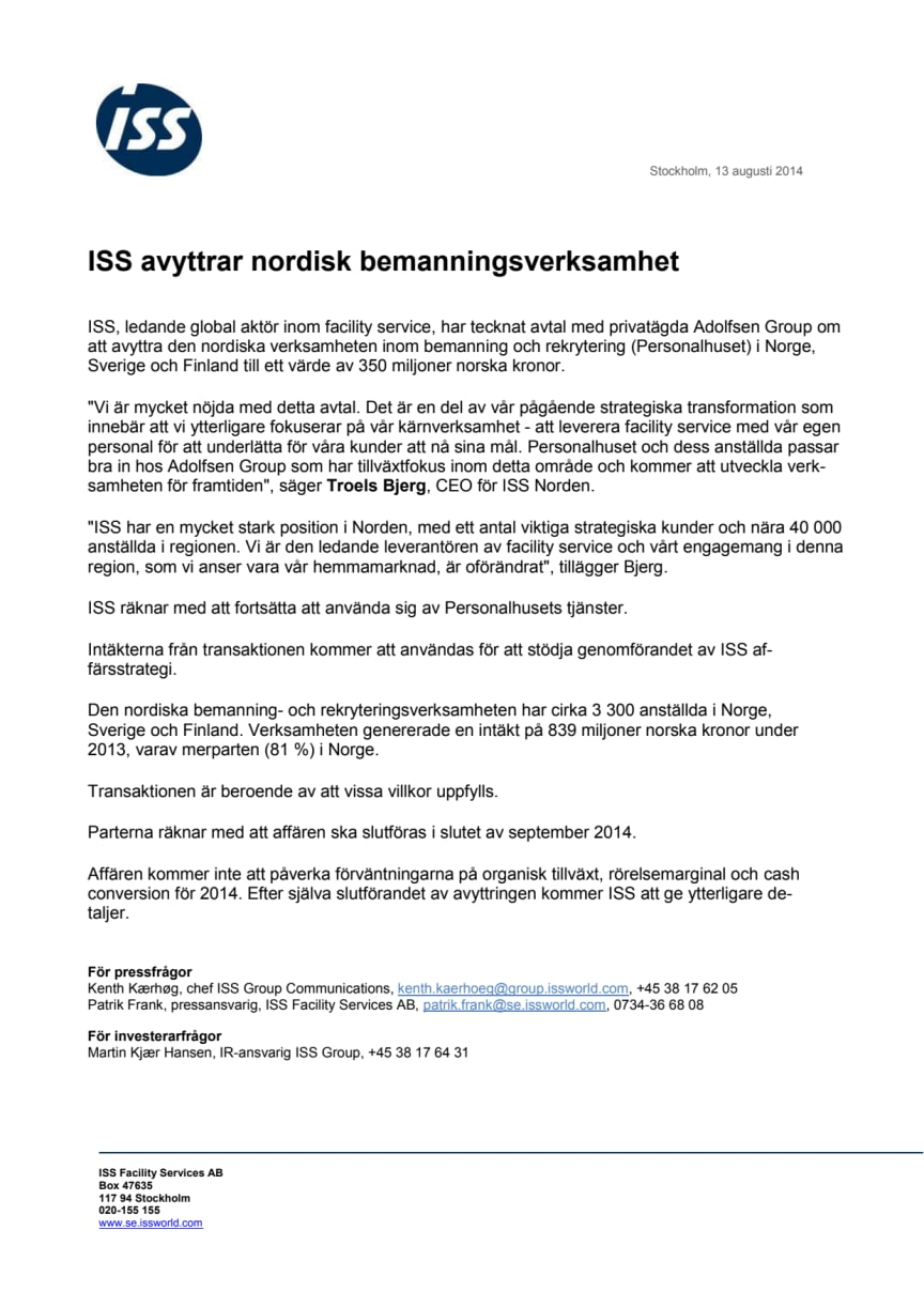 ISS avyttrar nordisk bemanningsverksamhet