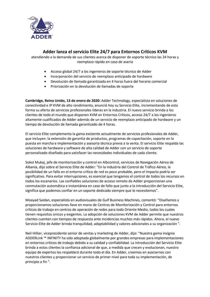 Adder lanza el servicio Elite 24/7 para Entornos Críticos KVM
