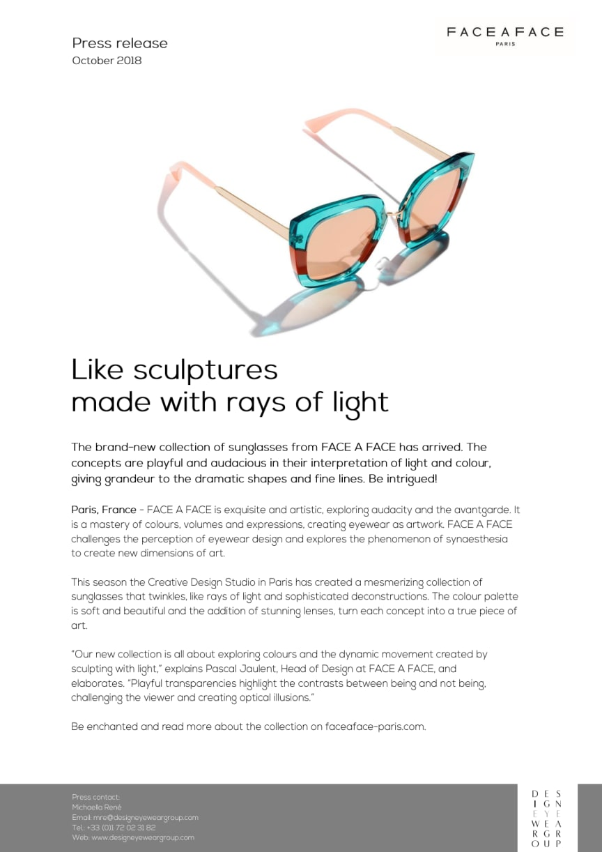 New sculpural sunglasses from Face A Face