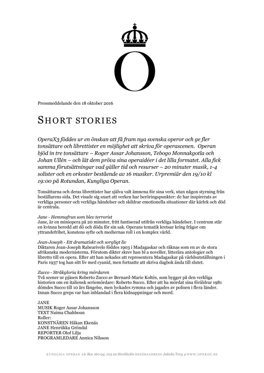 Short Stories - tre nya svenska operor