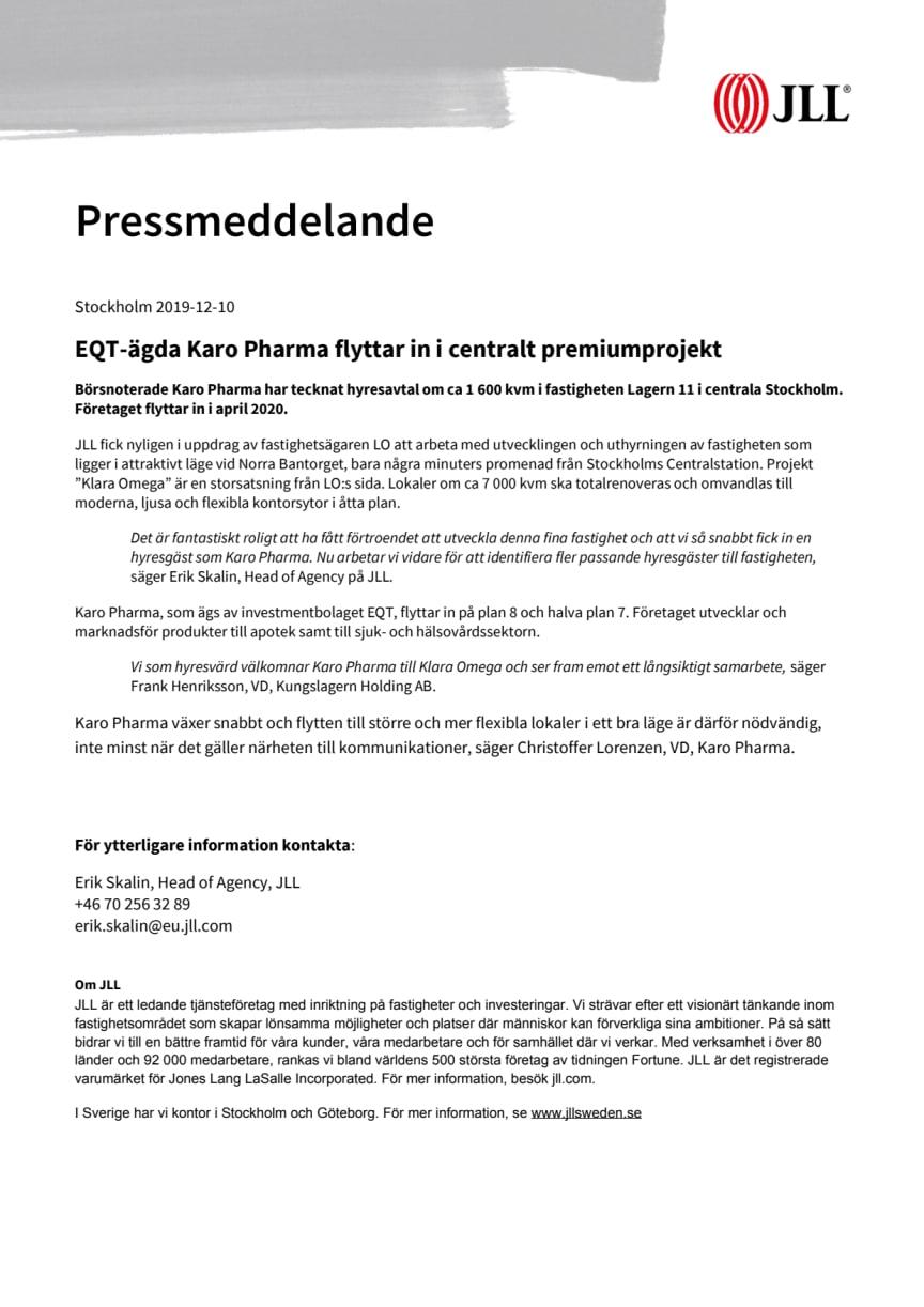EQT-ägda Karo Pharma flyttar in i centralt premiumprojekt