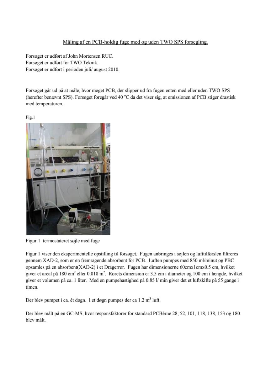 Dokumentation af SPS Primær forseglingsevne for PCB - juli 2010