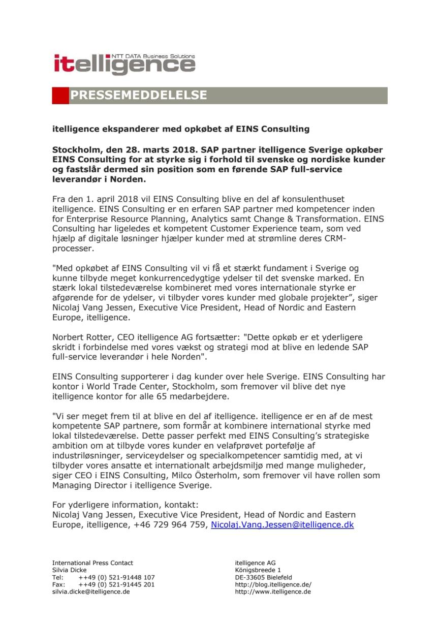 itelligence ekspanderer med opkøbet af EINS Consulting