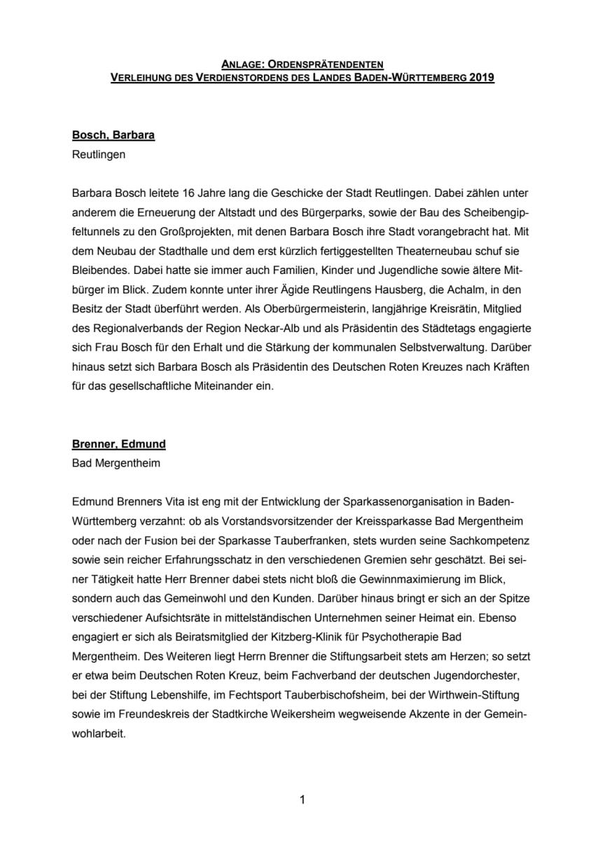 Ordensprätendenten - Verleihung des Verdienstordens des Landes Baden-Württemberg 2019
