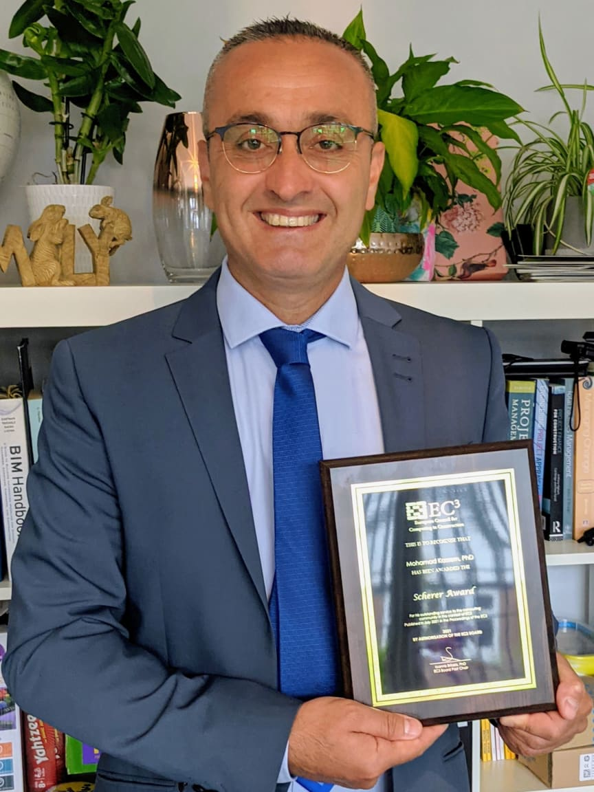 Professor Mohamad Kassem has been awarded the 2021 Scherer Award for outstanding service to the computing community in the context of EC3.jpg
