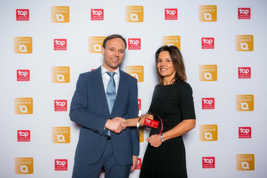 Ilona Knip, HR Director Benelux receiving the Top Employer award