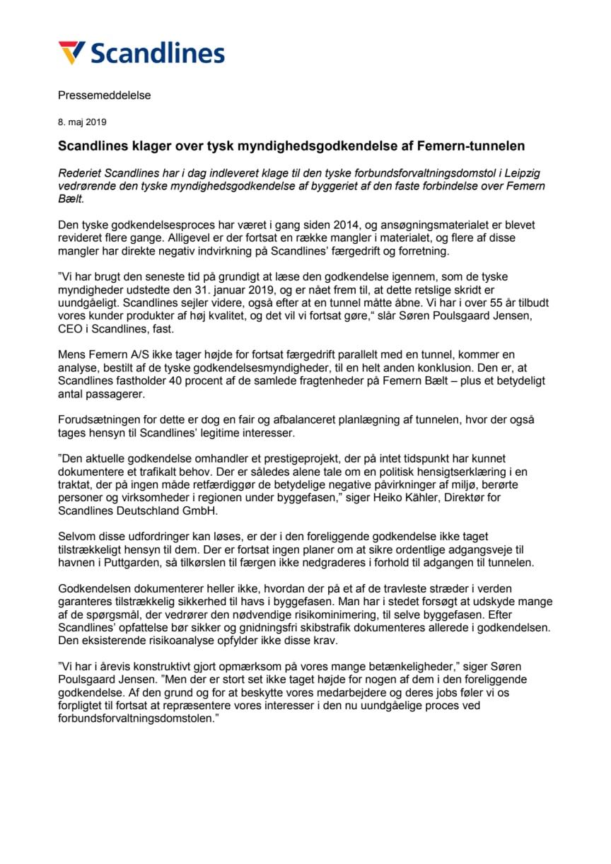 Scandlines klager over tysk myndighedsgodkendelse af Femern-tunnelen