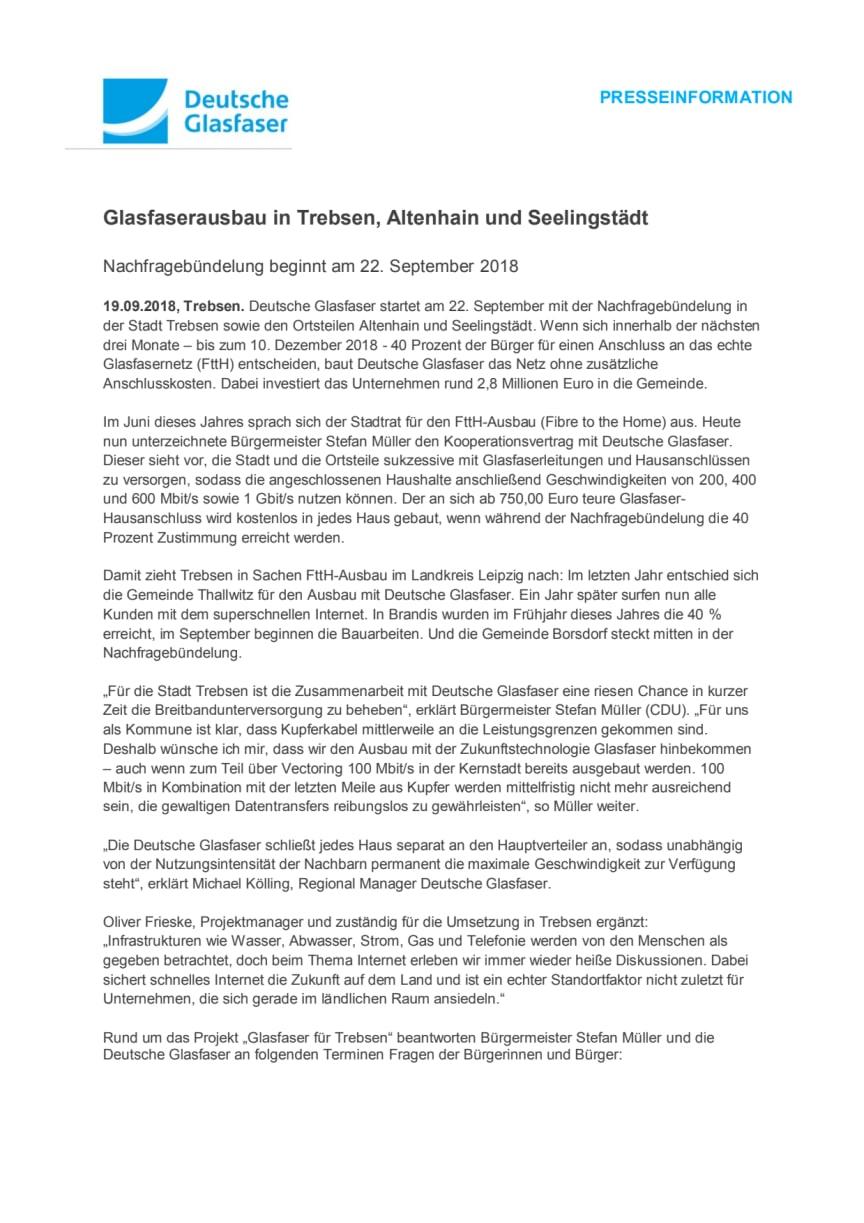Glasfaserausbau in Trebsen, Altenhain und Seelingstädt