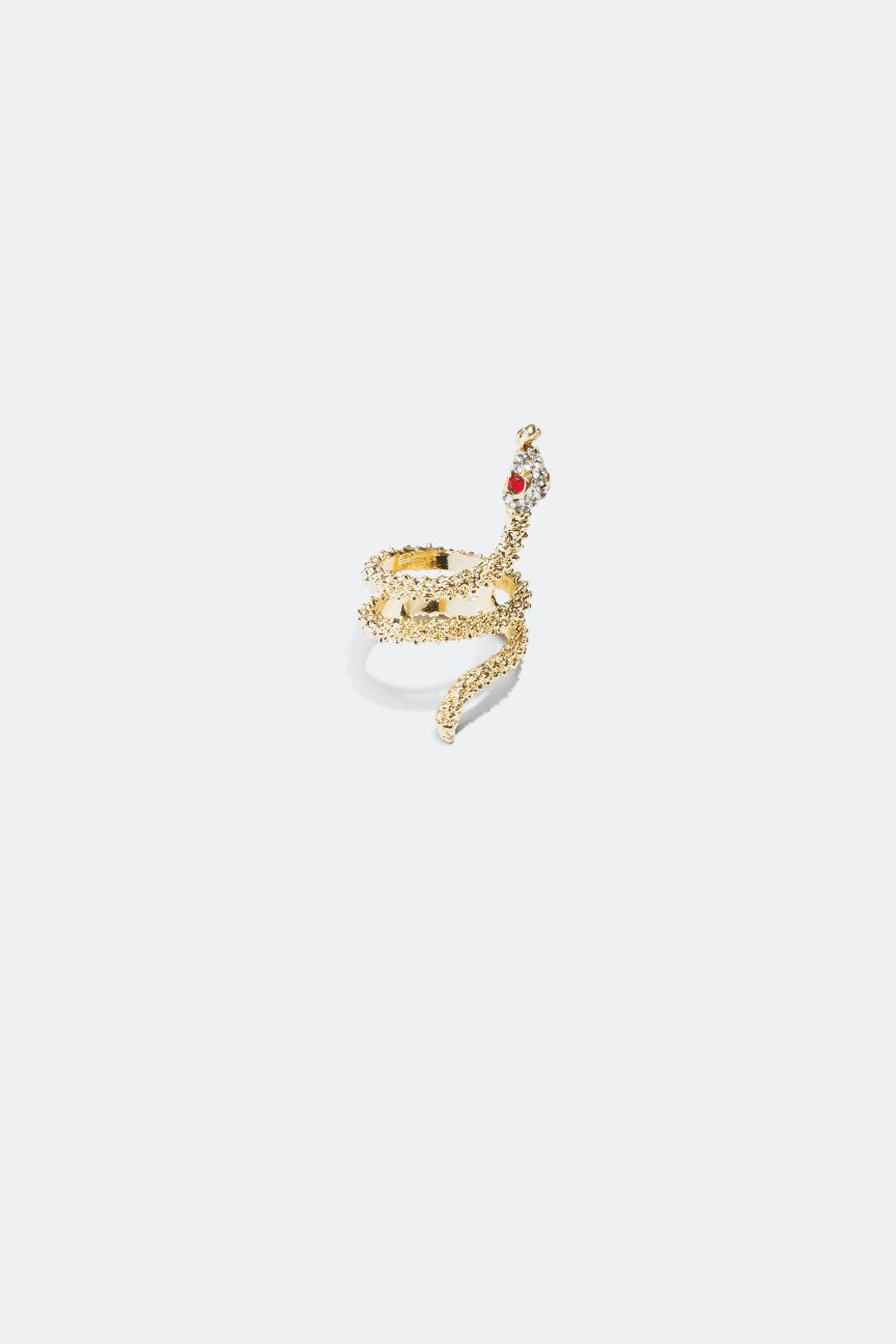 Ormformad ring med glasstenar