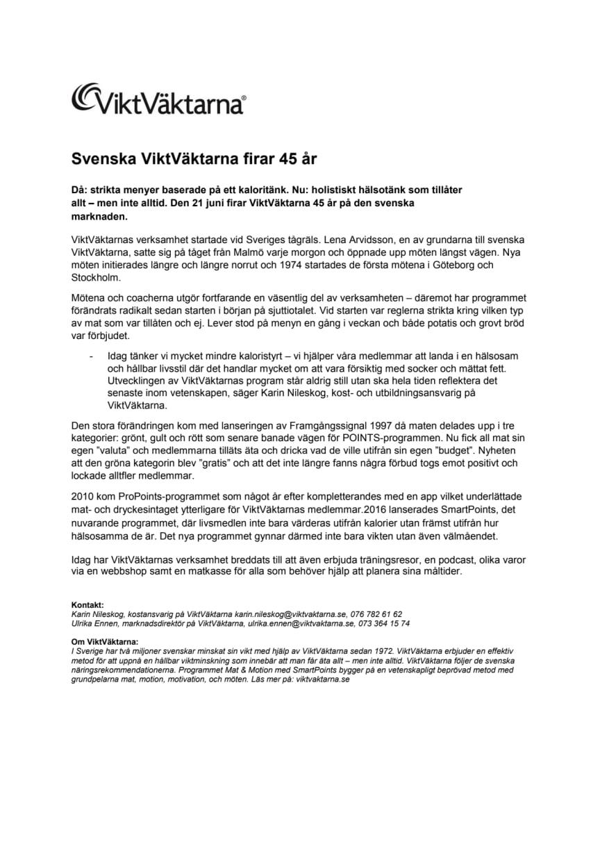 Svenska ViktVäktarna firar 45 år