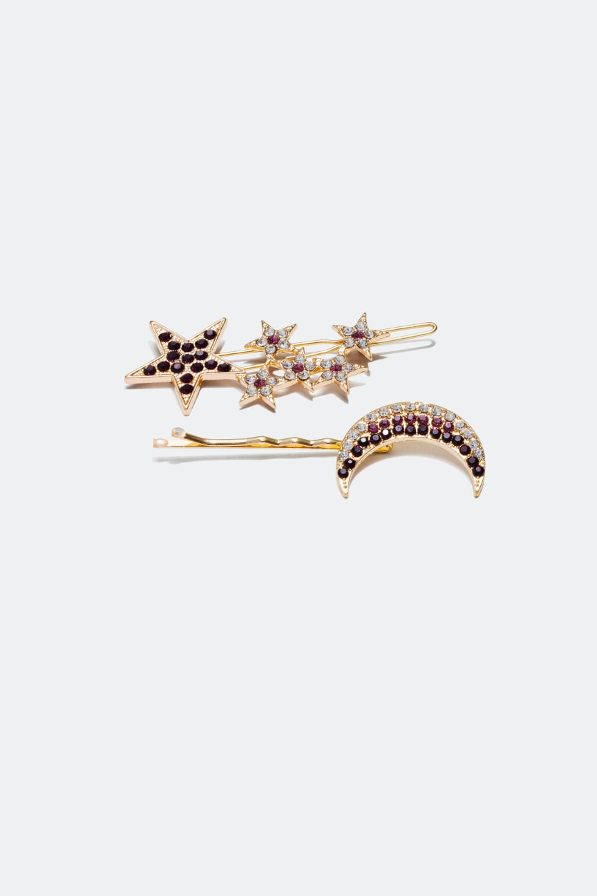 Hair Clips with Rhinestones 2-pack
