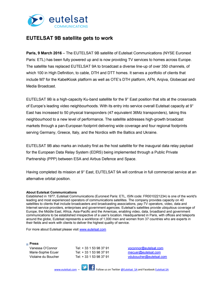 EUTELSAT 9B satellite gets to work