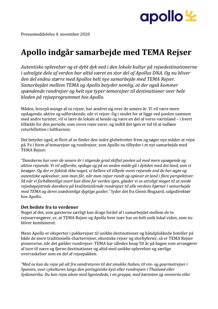 Apollo indgår samarbejde med TEMA Rejser