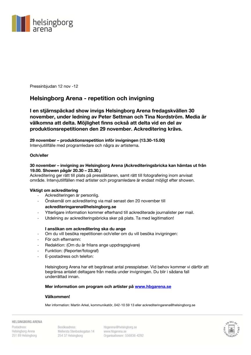 Helsingborg Arena - repetition och invigning