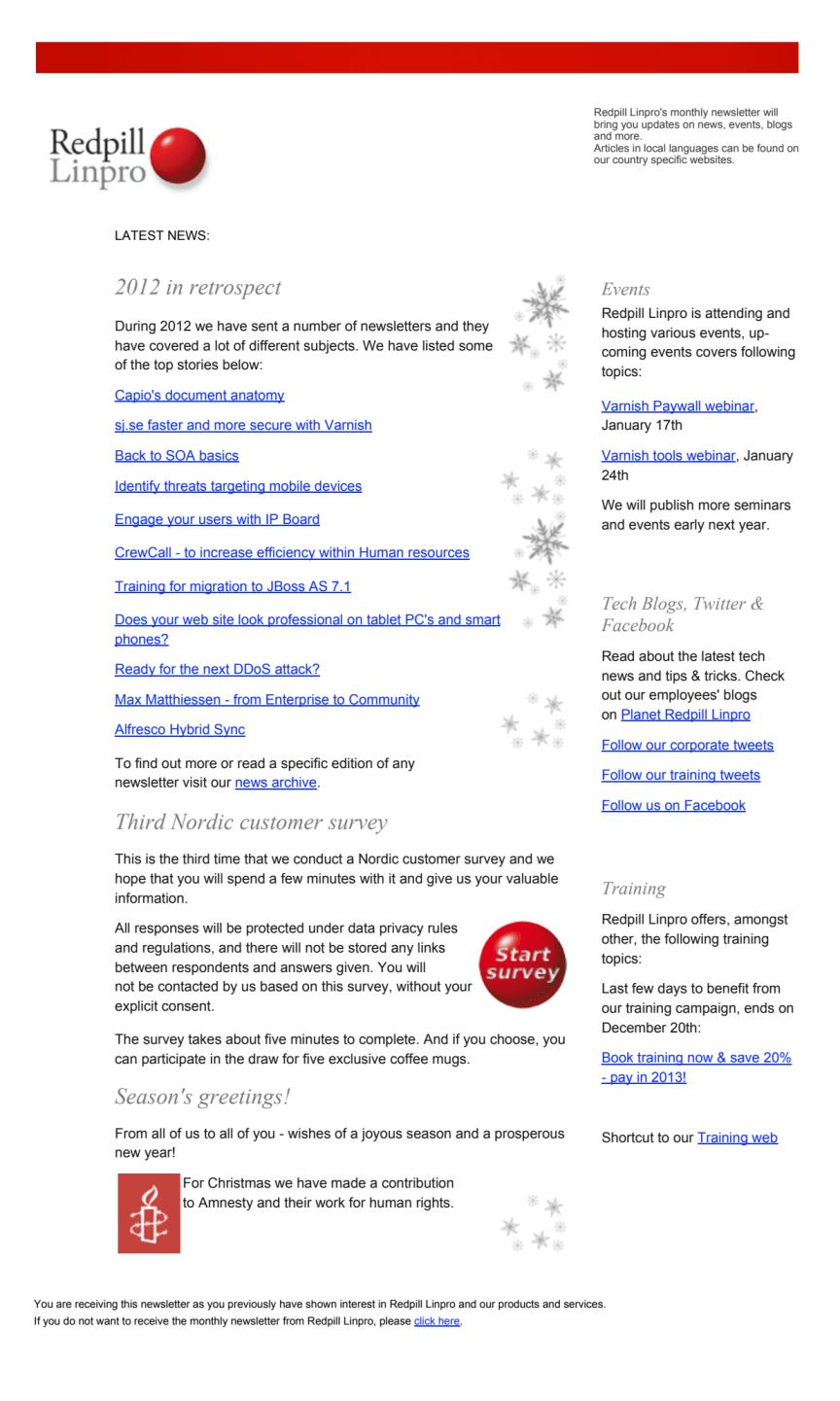 Redpill Linpro Newsletter December 2012