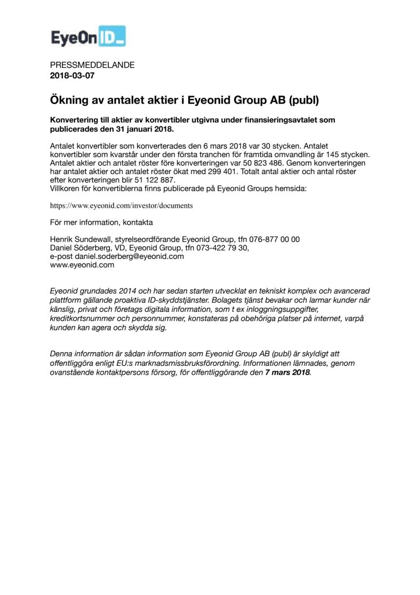Ökning av antalet aktier i Eyeonid Group AB (publ)
