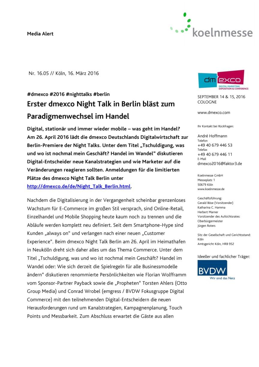 Erster dmexco Night Talk in Berlin bläst zum Paradigmenwechsel im Handel