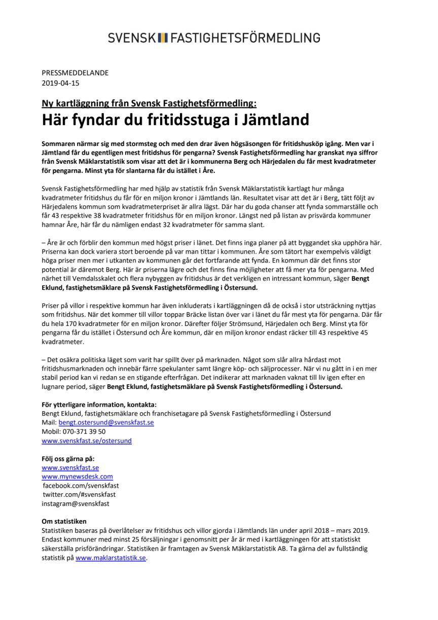 Ny kartläggning från Svensk Fastighetsförmedling: Här fyndar du fritidsstuga i Jämtland