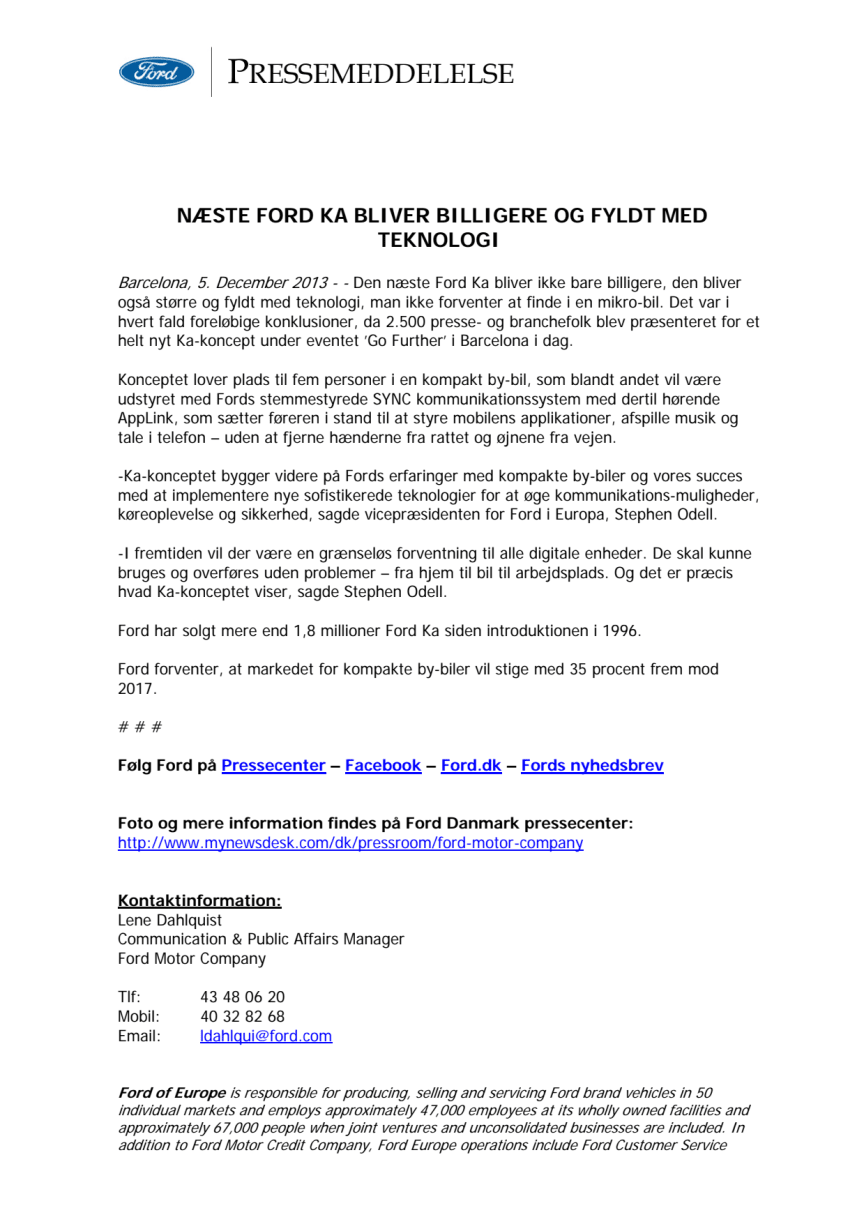FORD KA CONCEPT - INTERNATIONAL PRESS RELEASE