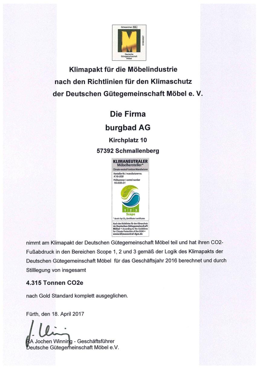Urkunde Klimaneutraler Hersteller burgbad