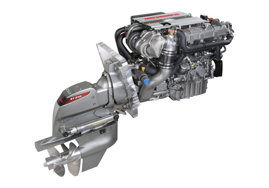 Hi-res image - YANMAR - YANMAR 4LV sterndrive marine diesel engine fitted with the YANMAR ZT370