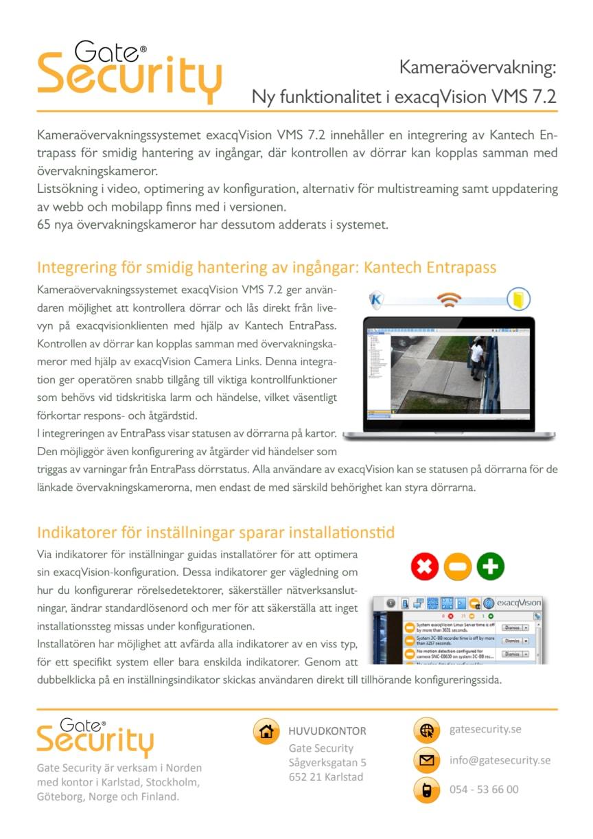 PDF: Kameraövervakning: Ny funktionalitet i exacqVision VMS 7.2