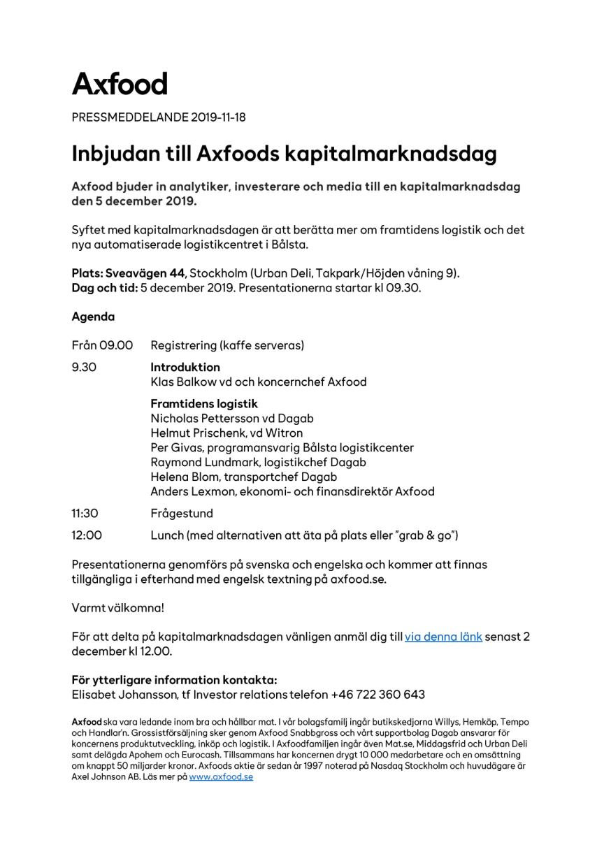 Inbjudan till Axfoods kapitalmarknadsdag