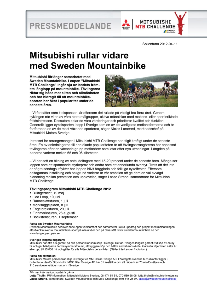 Mitsubishi rullar vidare med Sweden Mountainbike