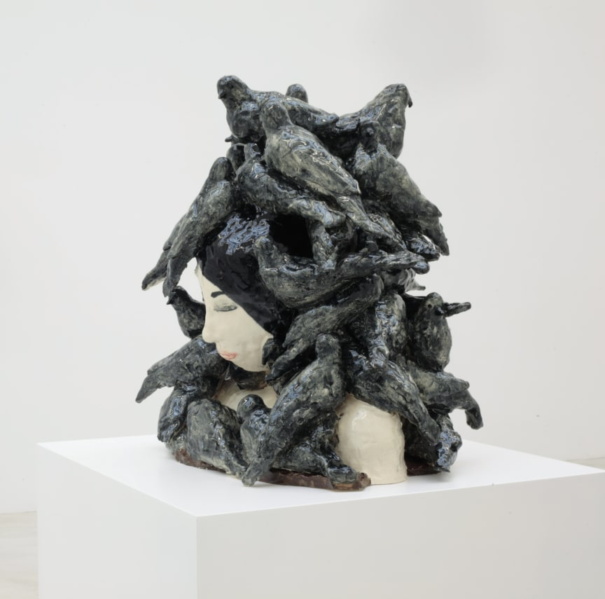 Klara Kristalova, The Weight of Doves, 2008. Glazed stoneware. Courtesy of  Galerie Emmanuel Perrotin.