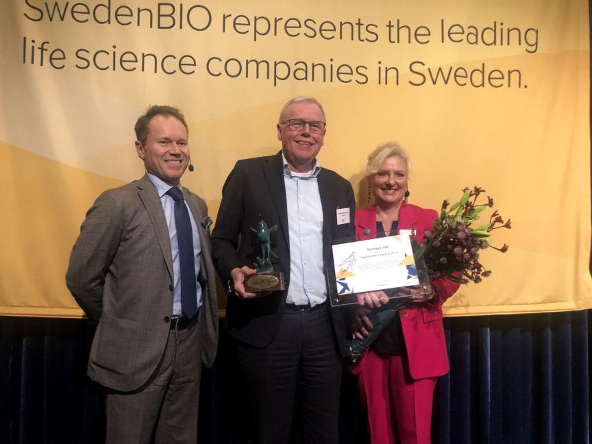 Torben Jörgensen tar emot SwedenBIO Award 2019