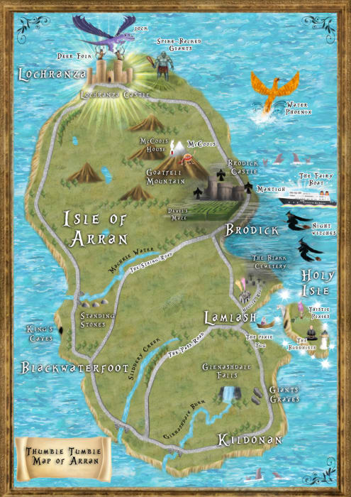 Map Of Arran Thumble Tumble map of Arran inspiring visitors to adventure across