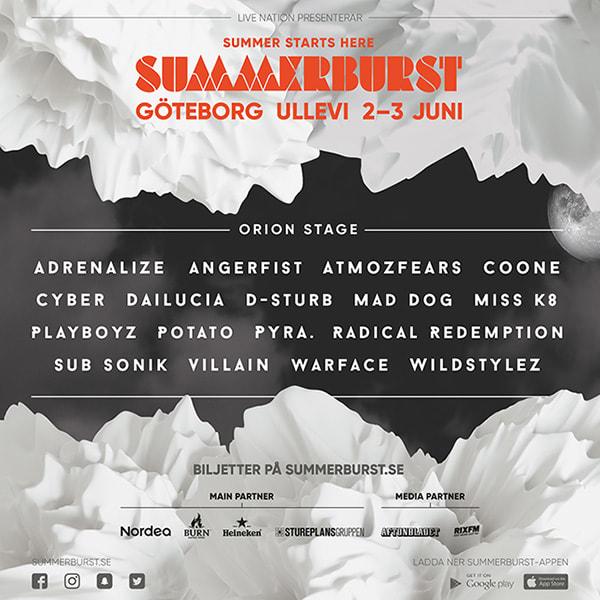 summerburst 2017 göteborg artister