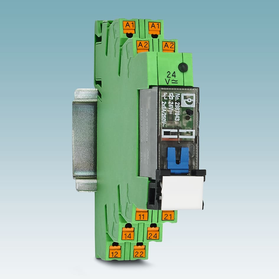 Electromechanical Relays With Manual Operation Phoenix Contact Uk Basic Relay The Plc Interface Program From For Modules Now Also Includes Lockable In A 14 Mm Width