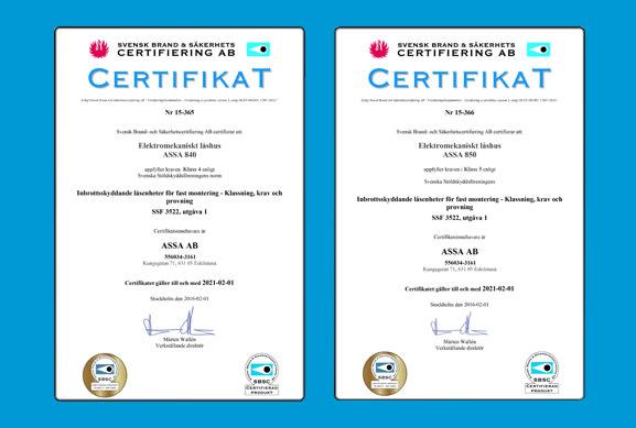 Unika ASSA Motorlås 840C/850C – certifierade i låsklass 4 och 5 SSF 3522 AJ-84