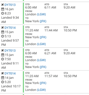 Flightradar24 data showing the official flight time of