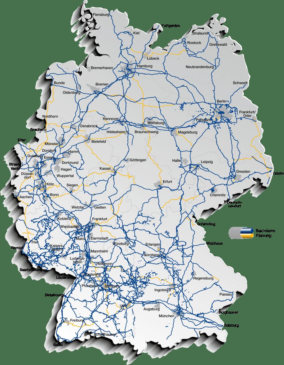 glasfaser karte deutschland Netzkarte von GasLINE   Deutsche Glasfaser