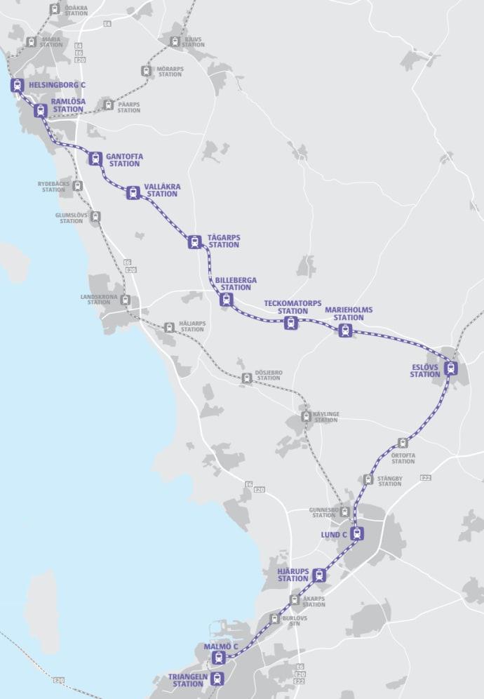 skånetrafiken karta Karta som visar Marieholmsbanan   Skånetrafiken skånetrafiken karta