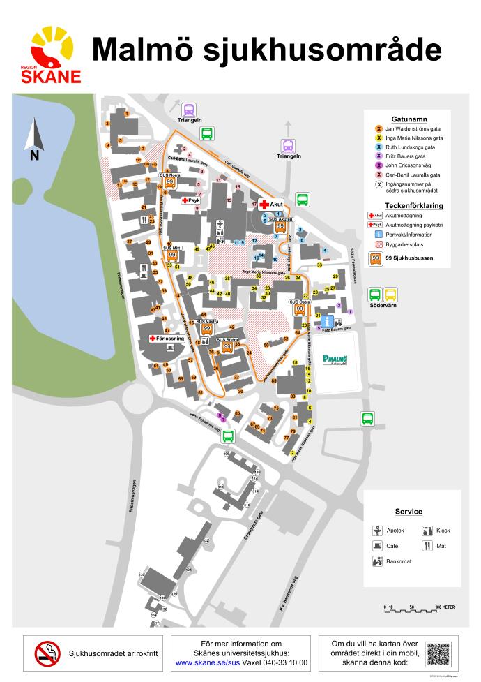 sus malmö karta Karta busslinje Malmö Sjukhusområde   Region Skåne sus malmö karta