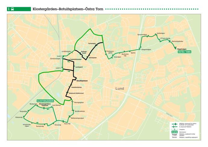 lunds stadsbussar karta Kartor över bussarna körvägar i Lund och Malmö vid påvebesöket  lunds stadsbussar karta