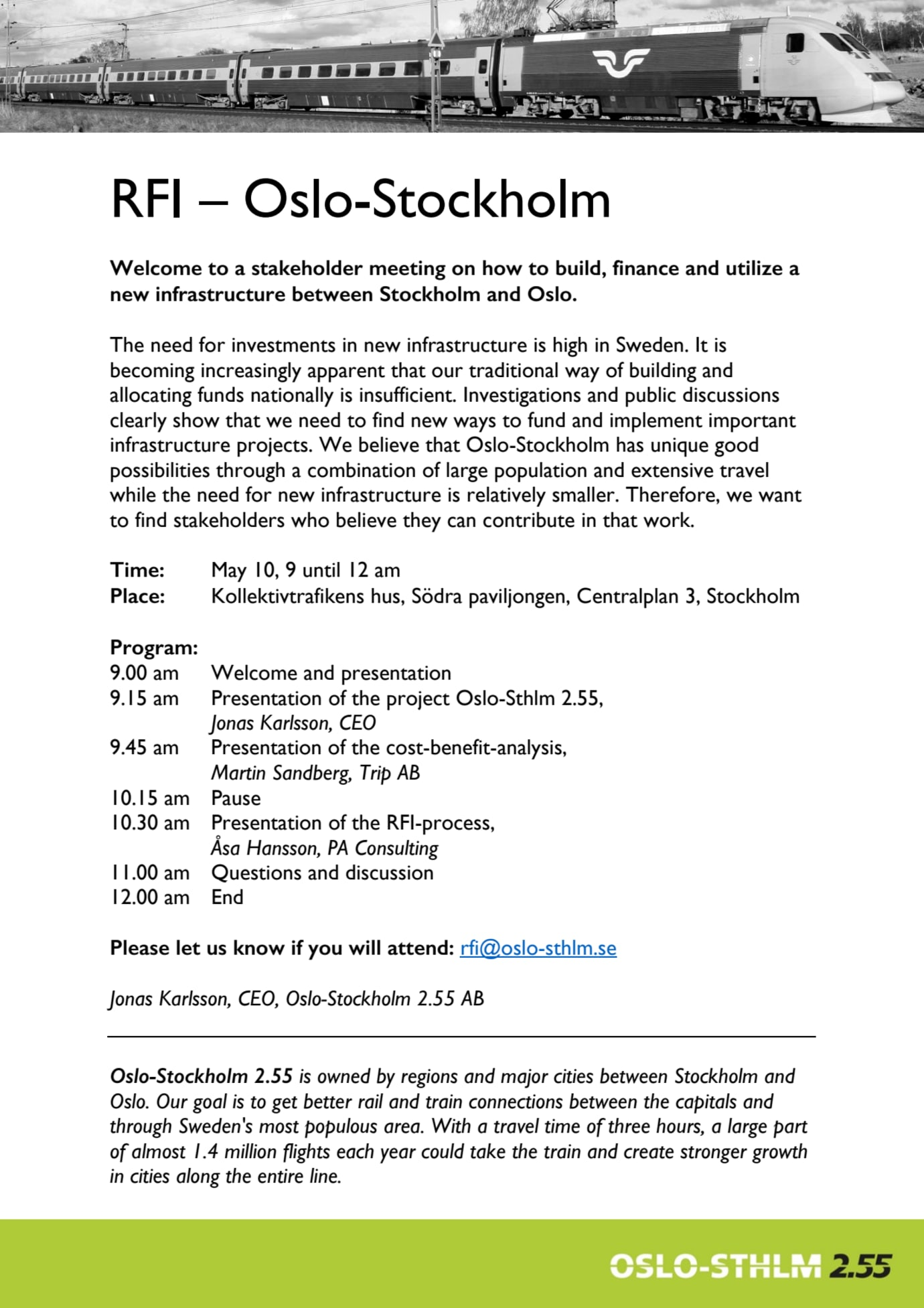Stakeholder meeting on RFI Oslo-Stockholm