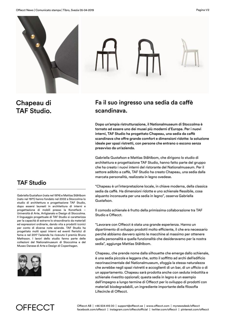 Che Cos È Il Legno offecct press release chapeau by taf studio_it - offecct ab