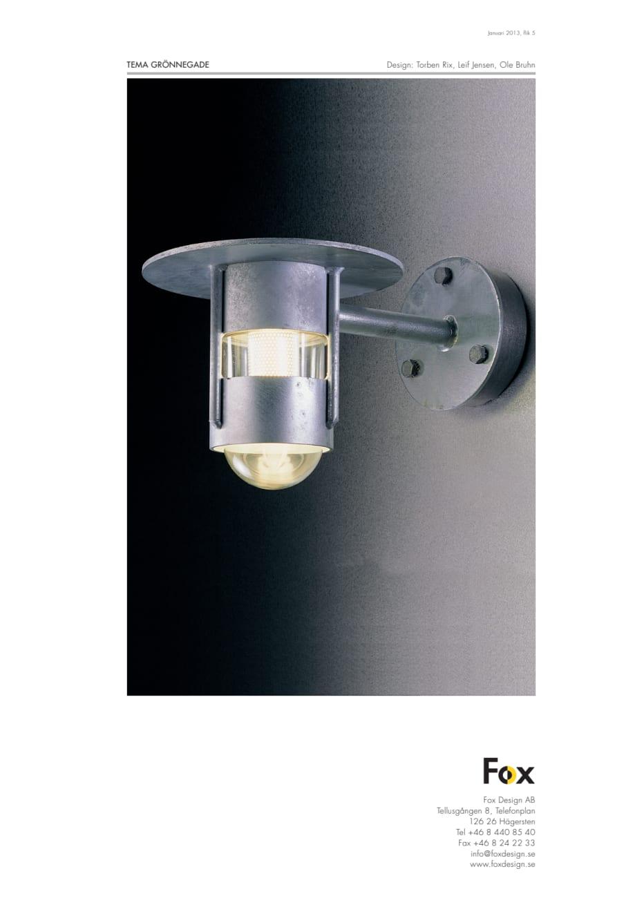 Berömda Produktblad Fox Design utomhusbelysning Grönnegade LED - Fox MB-97