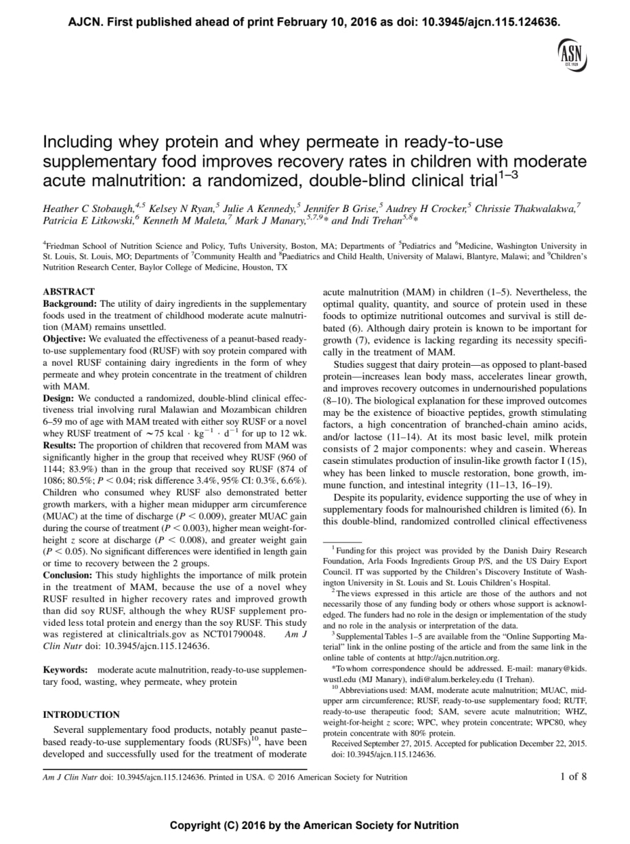 American Journal Of Clinical Nutrition Including Whey Protein Arla Foods Ingredients