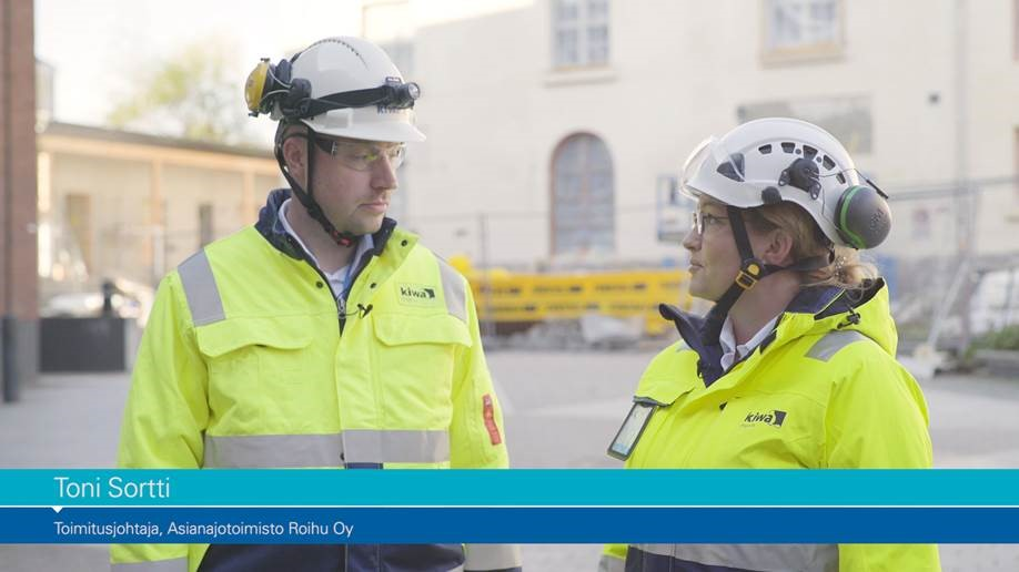 Kuvassa asianajaja Toni Sortti ja Kiwa Inspectan työturvallisuuspäällikkö Helena Louhelainen