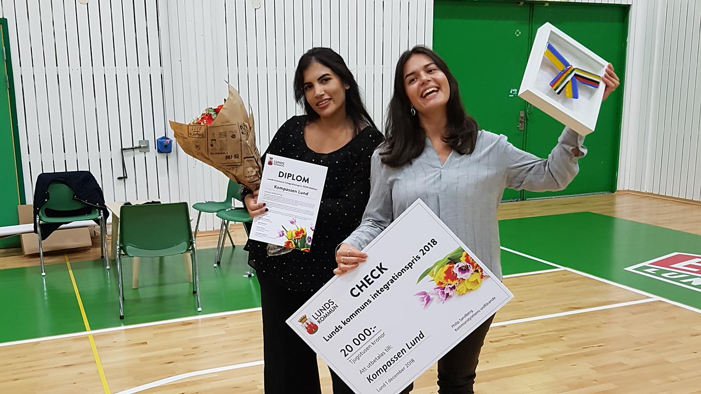 Sadaf Haidari och Yusra Imsheiel från Kompassen Lund - glada pristagare av Lunds kommuns integrationspris 2018.