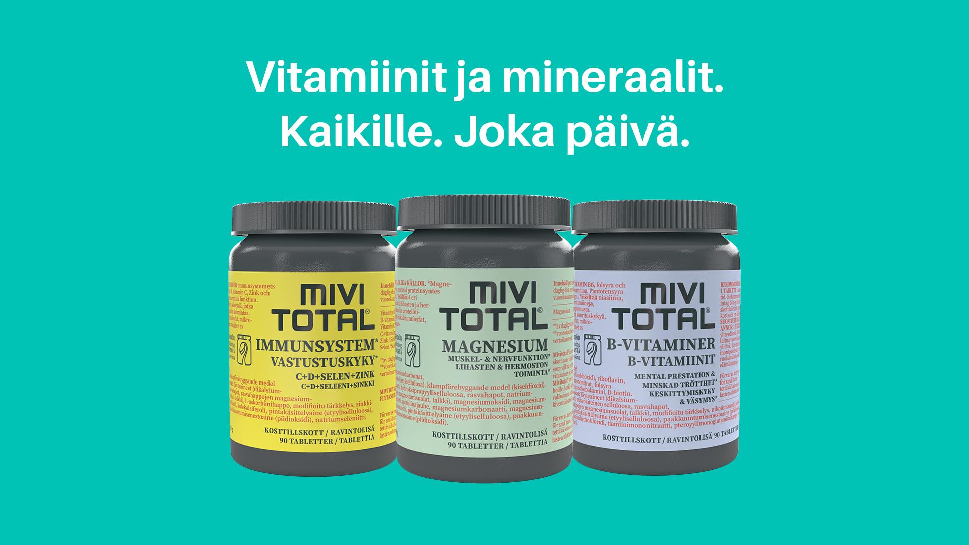 Uudet Mivitotal-ravintolisät kasvipohjaisessa pakkauksessa