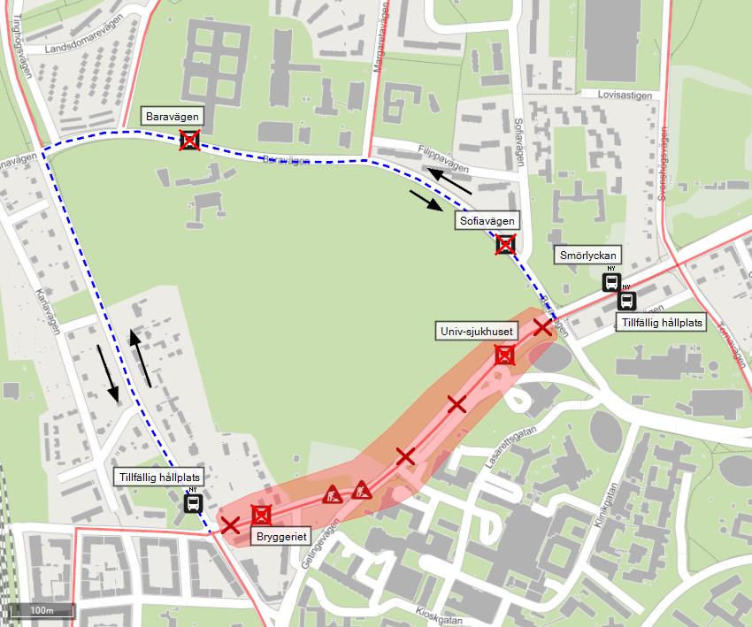 Denna karta visar den temporära resvägen för alla påverkade busslinjer den 28 oktober.