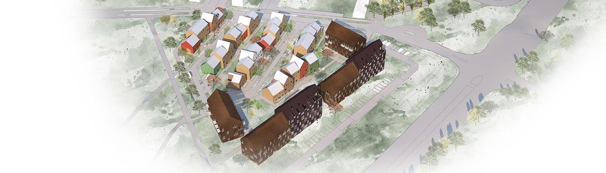 Vy över det nya bostadskvarteret i södra Råbylund. Illustration: Gunilla Svensson Arkitektkontor