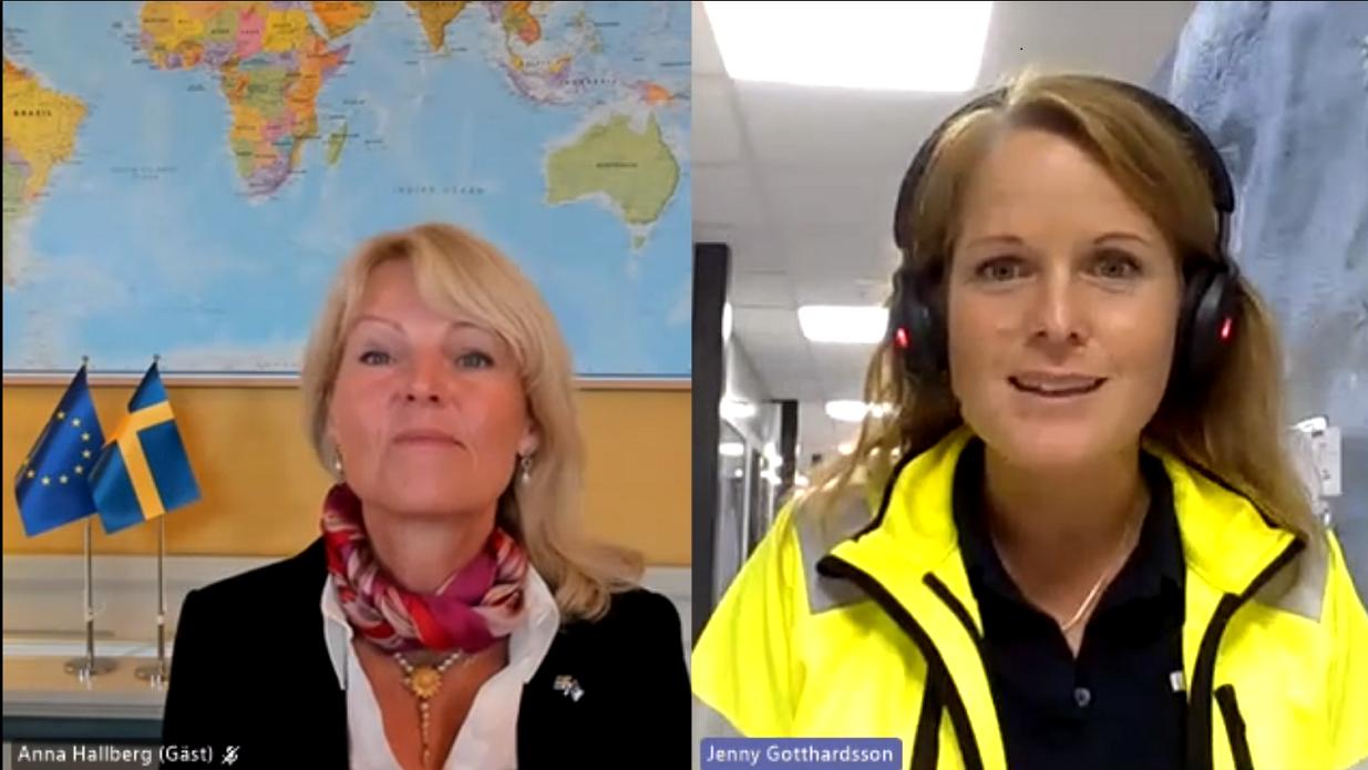 Utrikeshandelsminister Anna Hallberg (till vänster) och Jenny Gotthardsson, General manager på Boliden Garpenberg (till höger)